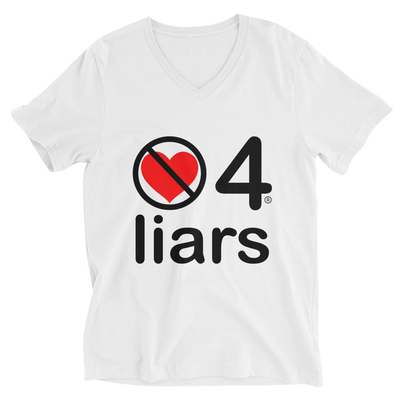 no love 4 liars - White Unisex Short Sleeve V-Neck T-Shirt