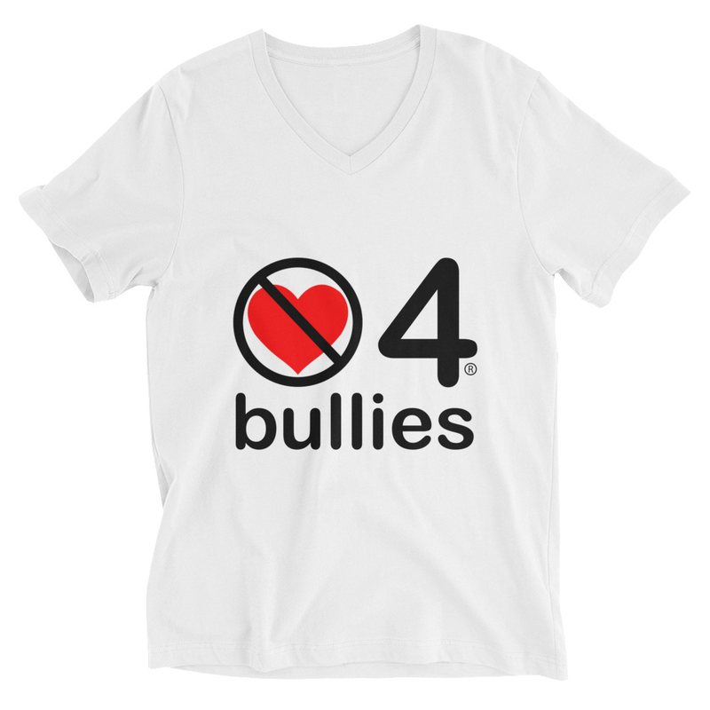 no love 4 bullies - White Unisex Short Sleeve V-Neck T-Shirt