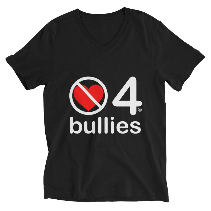 no love 4 bullies - Black Unisex Short Sleeve V-Neck T-Shirt