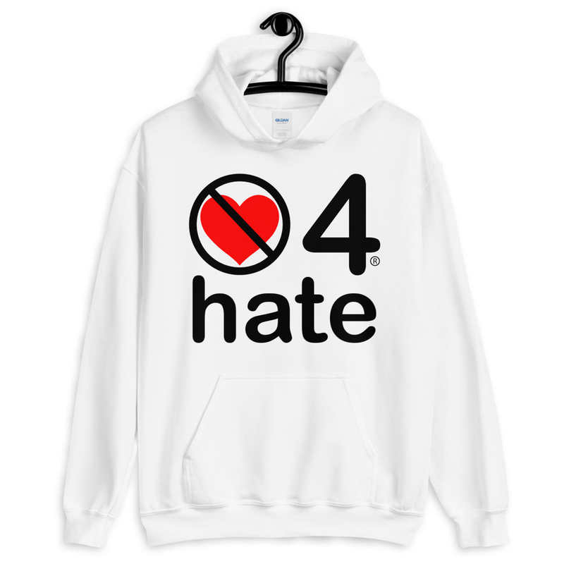 no love 4 hate - White Unisex Hoodie