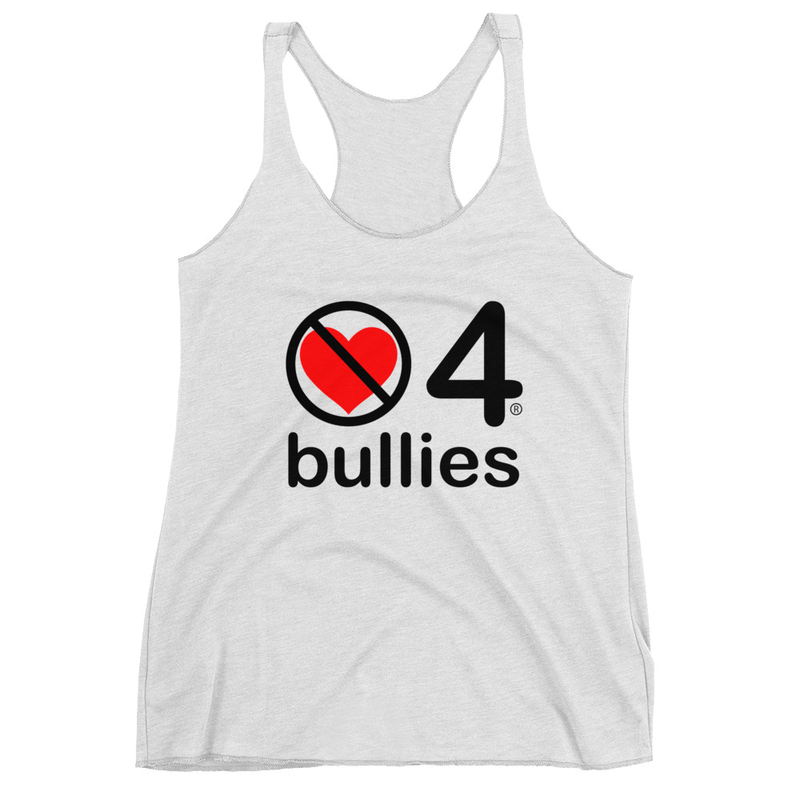 no love 4 bullies - Heather White Women's Racerback Tank