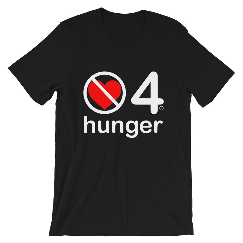 no love 4 hunger - Black Short-Sleeve Unisex T-Shirt