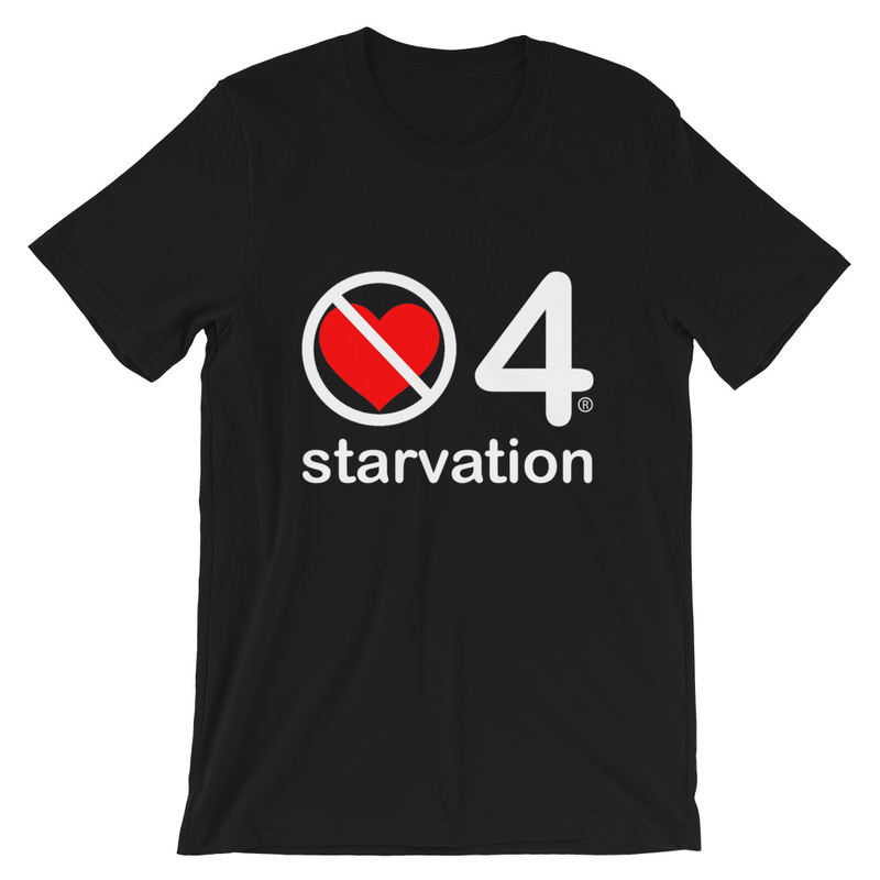 no love 4 starvation - Black Short-Sleeve Unisex T-Shirt
