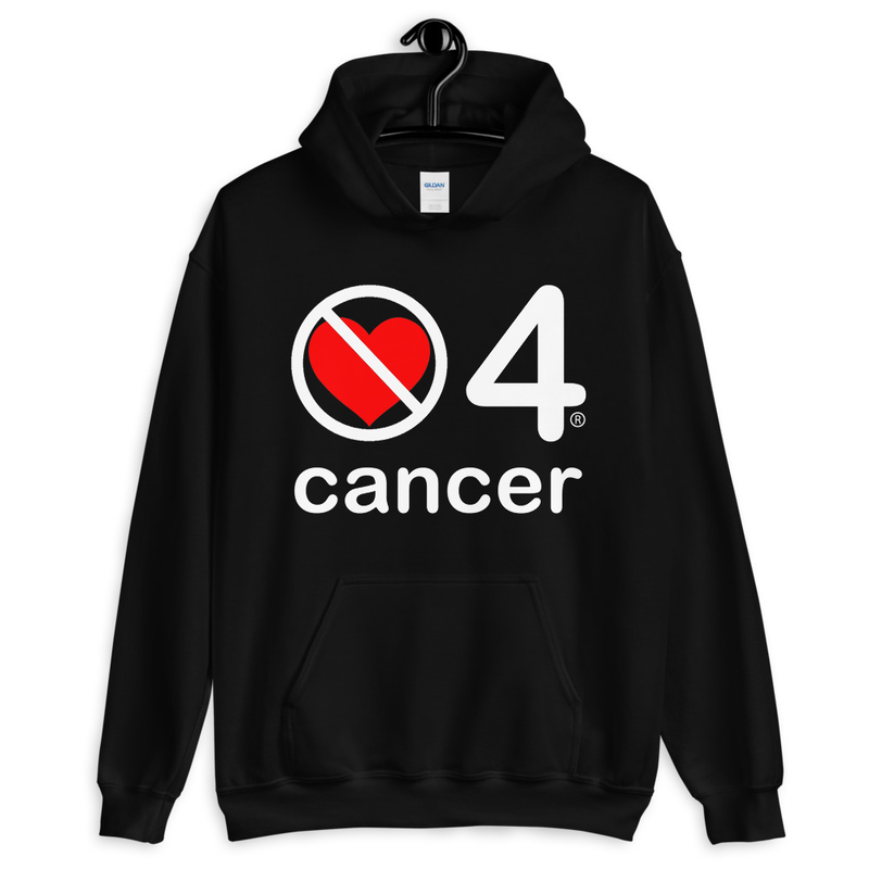 no love 4 cancer - Black Unisex Hoodie