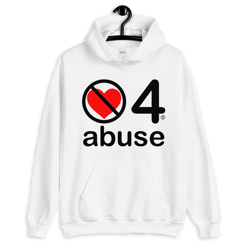 no love 4 abuse - White Unisex Hoodie
