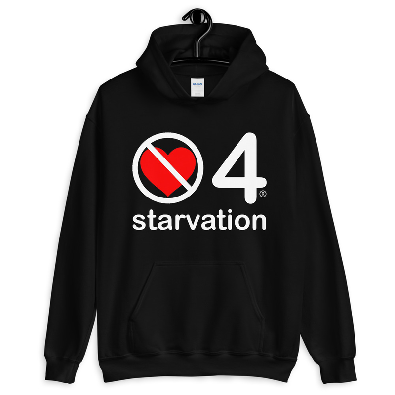 no love 4 starvation - Black Unisex Hoodie