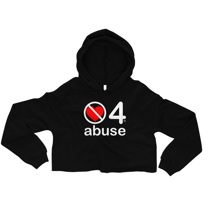 no love 4 abuse - Black Crop Hoodie