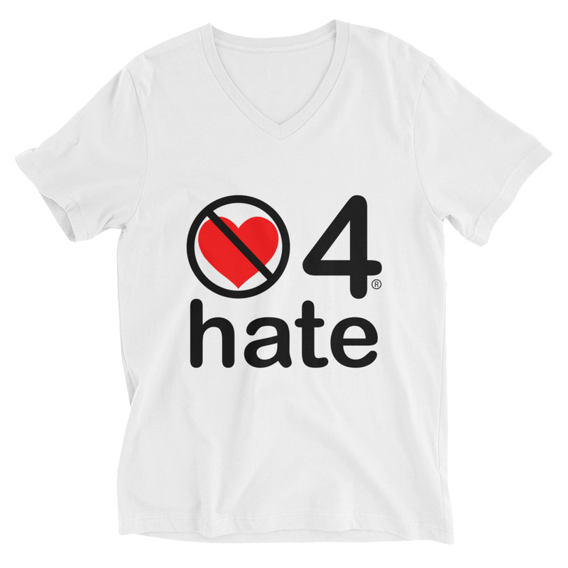 no love 4 hate - White Unisex Short Sleeve V-Neck T-Shirt