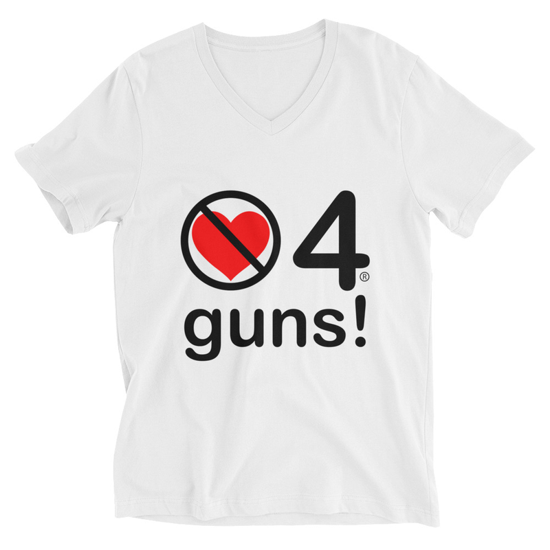 no love 4 guns! - White Unisex Short Sleeve V-Neck T-Shirt