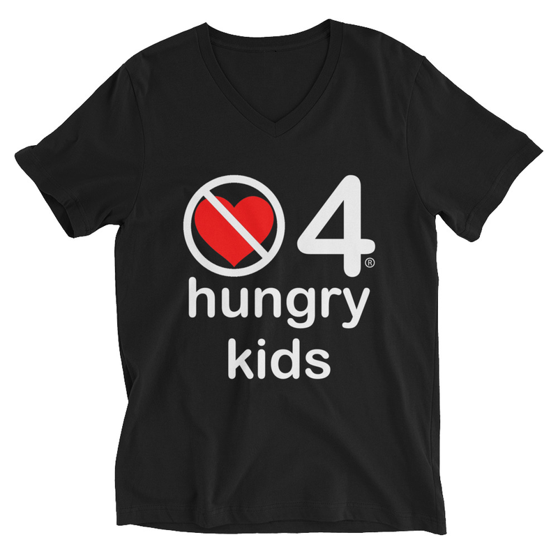 no love 4 hungry kids - Black Unisex Short Sleeve V-Neck T-Shirt