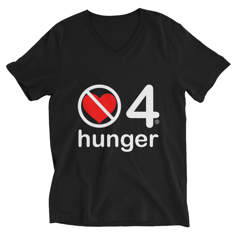 no love 4 hunger - Black Unisex Short Sleeve V-Neck T-Shirt