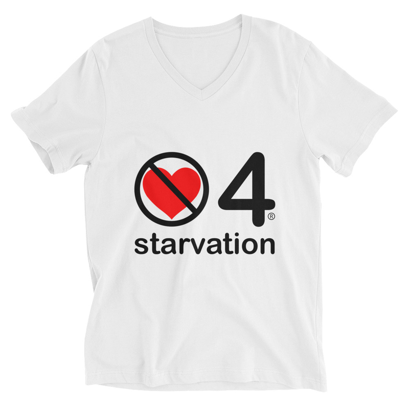 no love 4 starvation - White Unisex Short Sleeve V-Neck T-Shirt