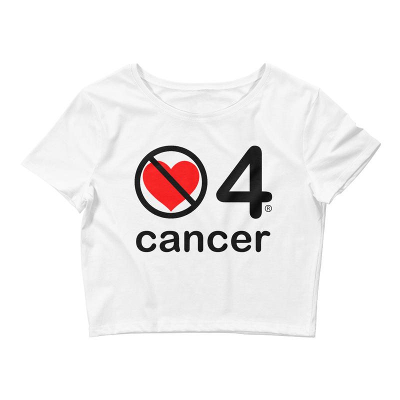 no love 4 cancer - White Women's Crop Tee