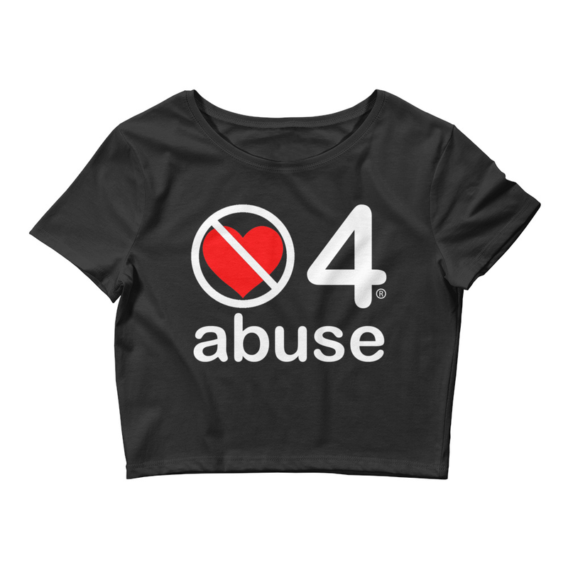 no love 4 abuse - Black Women's Crop Tee