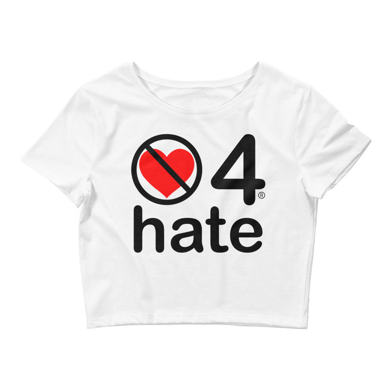 no love 4 hate - White Women's Crop Tee