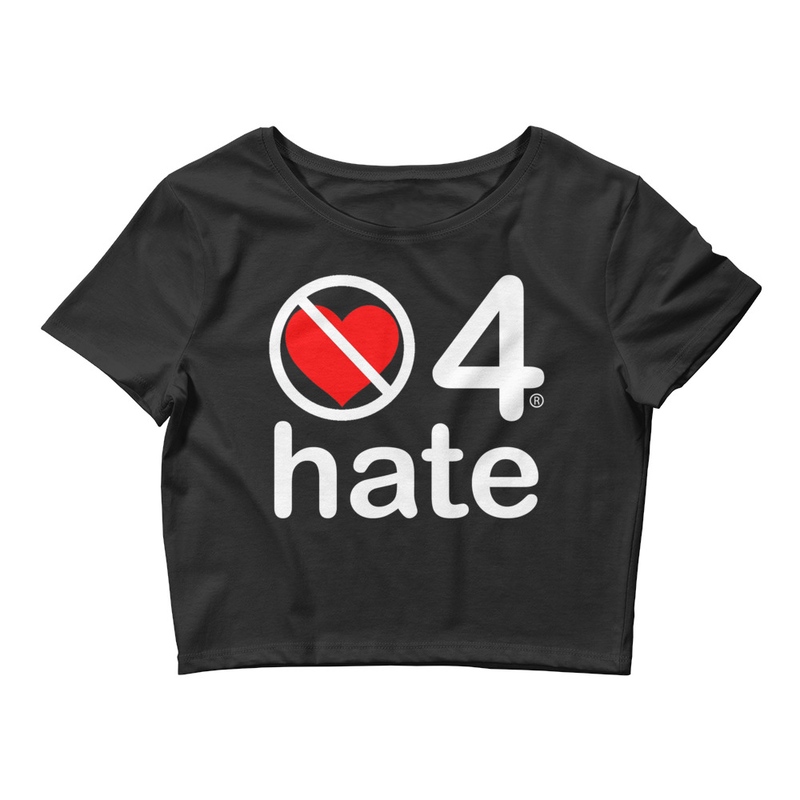 no love 4 hate - Black Women's Crop Tee