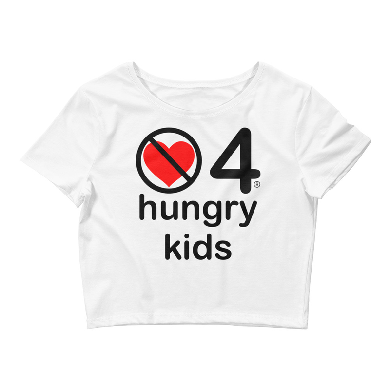 no love 4 hungry kids - White Women's Crop Tee