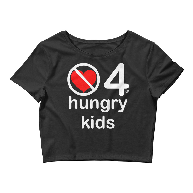 no love 4 hungry kids - Black Women's Crop Tee