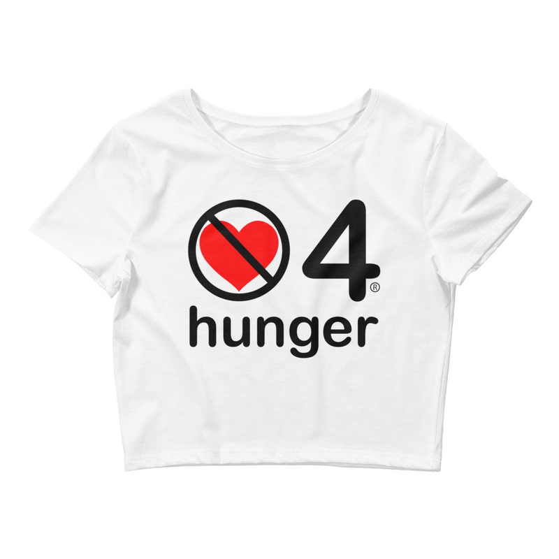 no love 4 hunger - White Women's Crop Tee