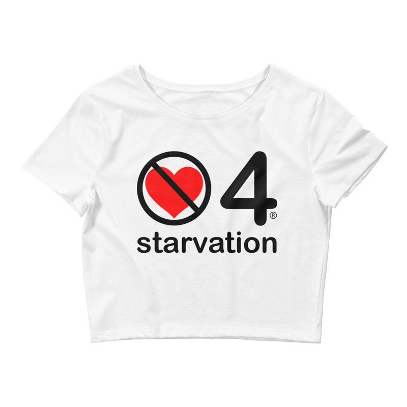 no love 4 starvation - White Women's Crop Tee