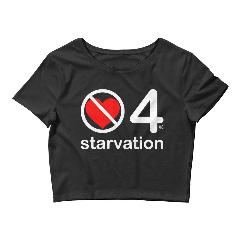 no love 4 starvation - Black Women's Crop Tee