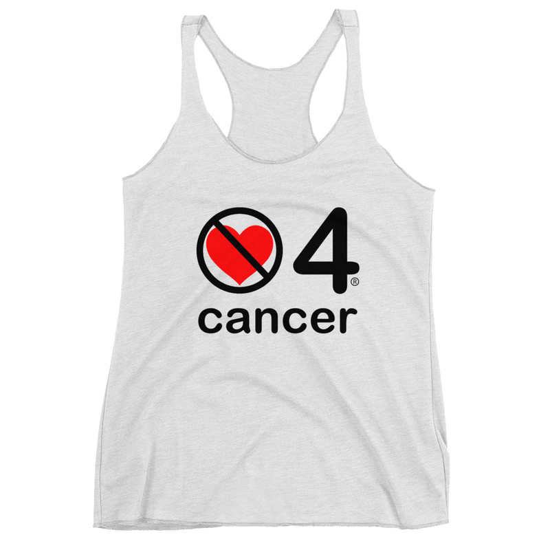 no love 4 cancer - Heather White Women's Racerback Tank