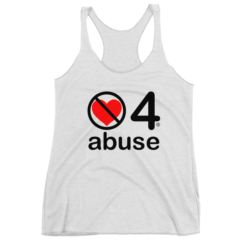 no love 4 abuse - Heather White Women's Racerback Tank