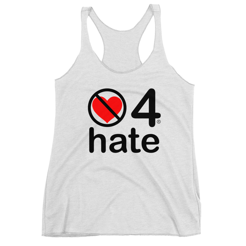 no love 4 hate - Heather White Women's Racerback Tank