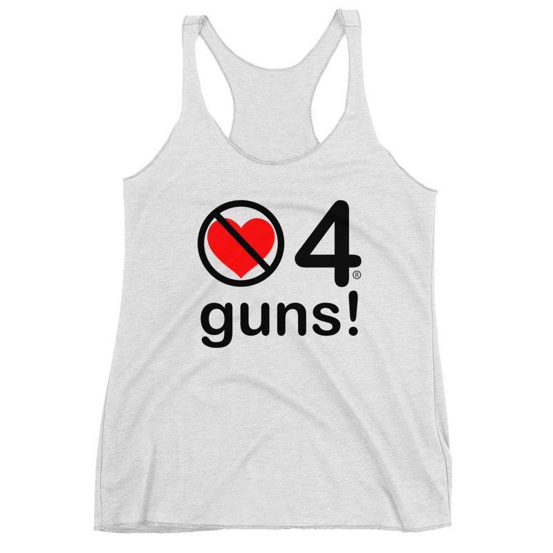 no love 4 guns! - Heather White Women's Racerback Tank