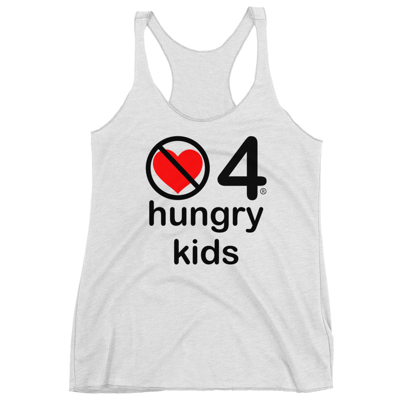 no love 4 hungry kids - Heather White Women's Racerback Tank