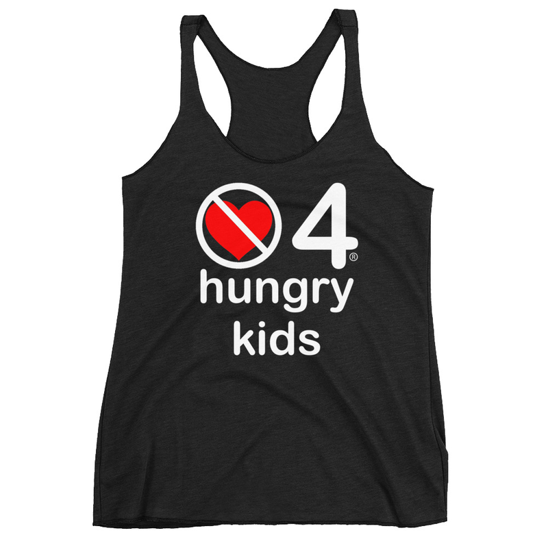 no love 4 hungry kids - Black Women's Racerback Tank