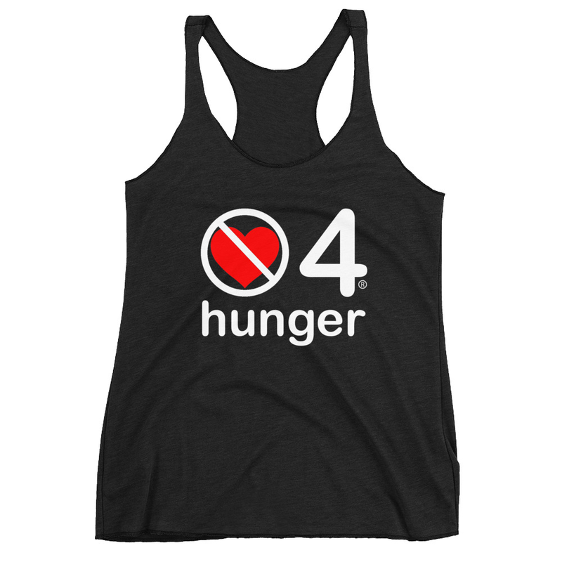 no love 4 hunger - Black Women's Racerback Tank