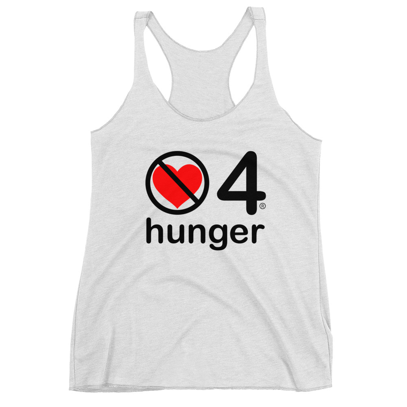 no love 4 hunger - Heather White Women's Racerback Tank