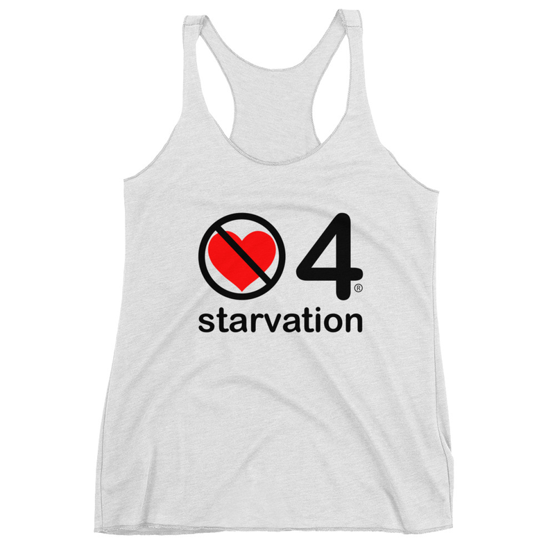no love 4 starvation - Heather White Women's Racerback Tank