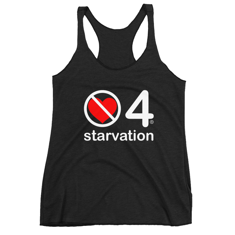 no love 4 starvation - Black Women's Racerback Tank