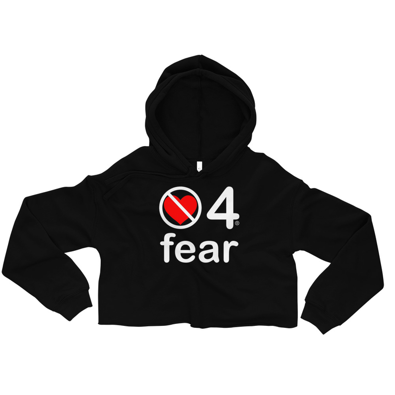 no love 4 fear - Black Crop Hoodie
