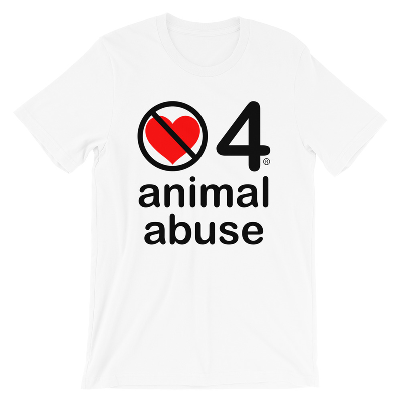 no love 4 animal abuse - White Short-Sleeve Unisex T-Shirt