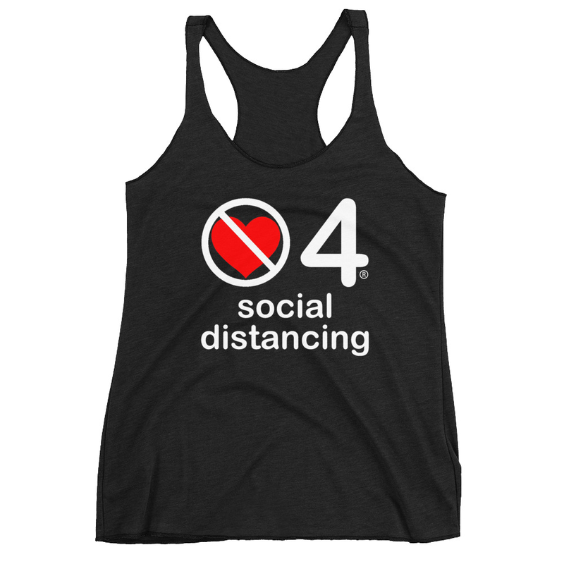 no love 4 social distancing - Black Women's Racerback Tank