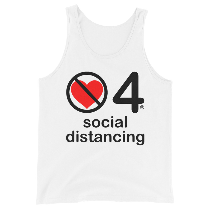no love 4 social distancing - White Unisex Tank Top