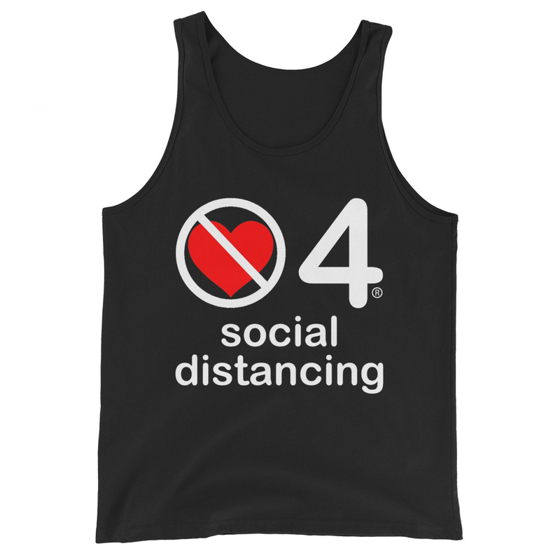 no love 4 social distancing - Black Unisex Tank Top