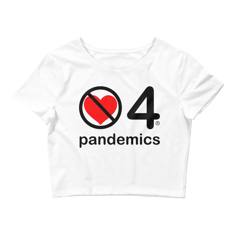 no love 4 pandemics - White Women's Crop Tee