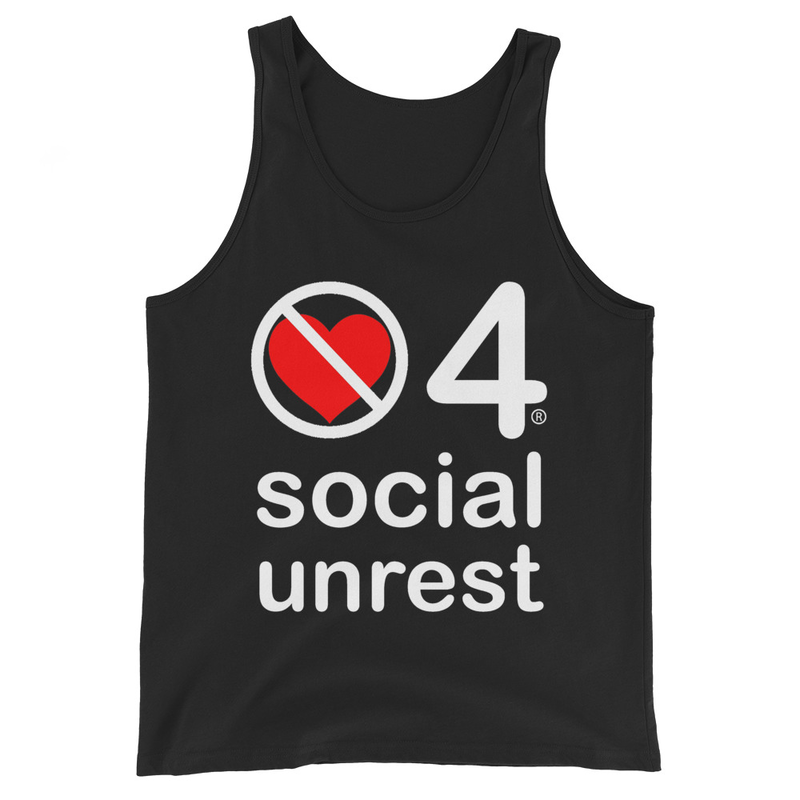 no love 4 social unrest - Black Unisex Tank Top