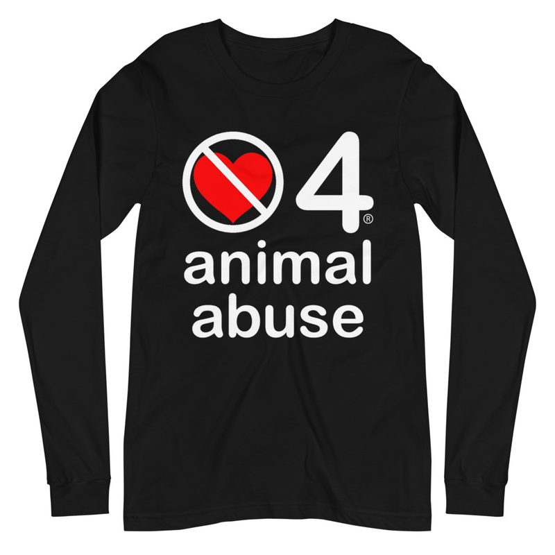no love 4 animal abuse - Black Unisex Long Sleeve Tee