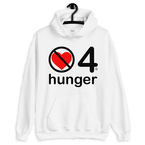 no love 4 hunger - White Unisex Hoodie