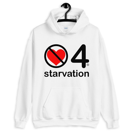 no love 4 starvation - White Unisex Hoodie