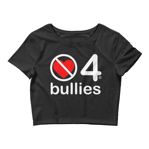 no love 4 bullies - Black Women's Crop Tee